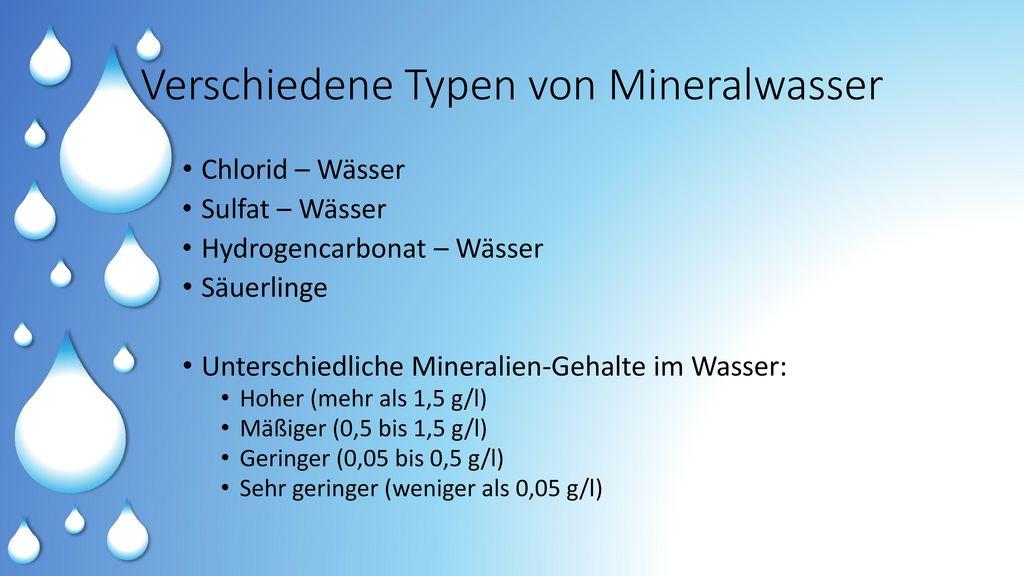 Verschiedene Typen von Mineralwasser