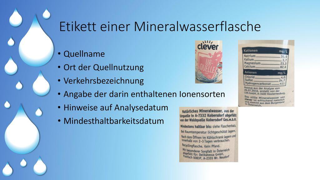 Etikett einer Mineralwasserflasche