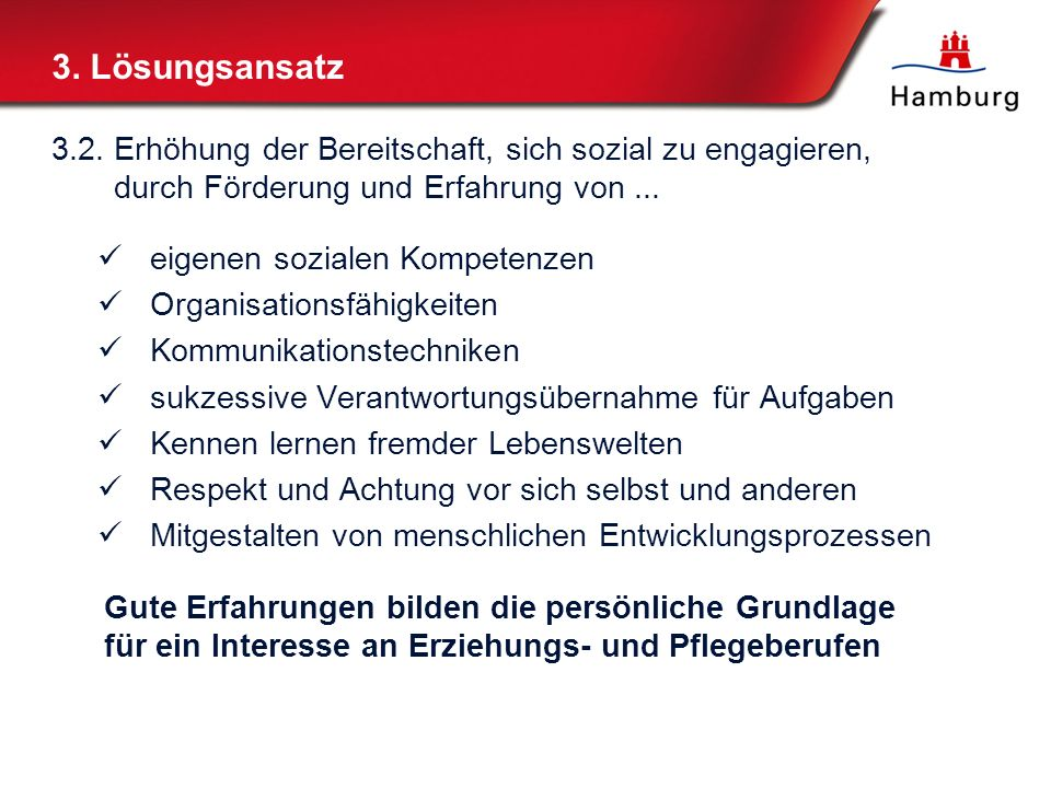 3. Lösungsansatz3.2. Erhöhung der Bereitschaft, sich sozial zu engagieren, durch Förderung und Erfahrung von ...
