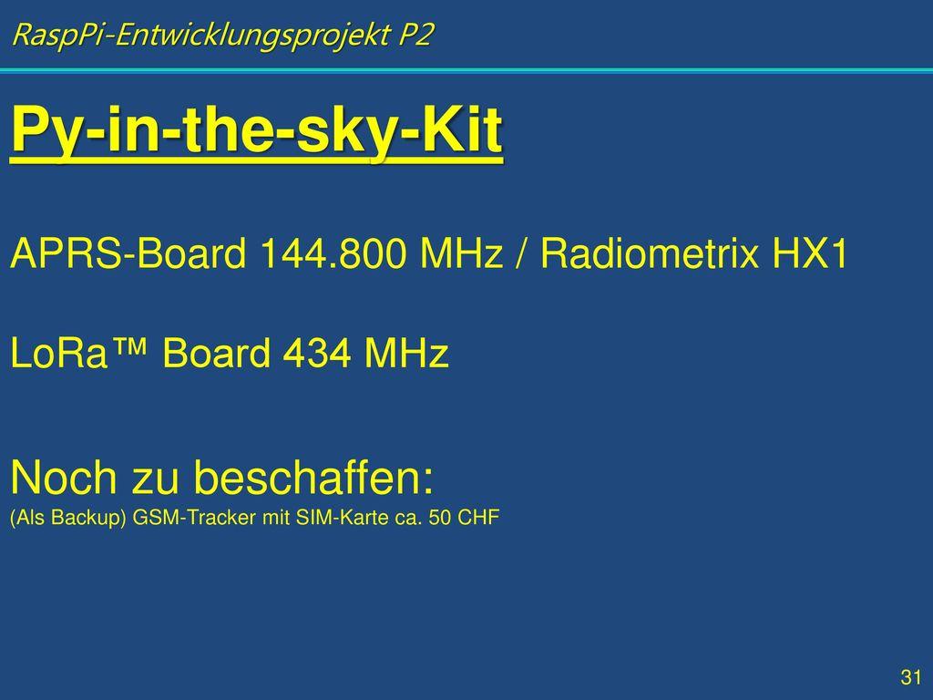 Py-in-the-sky-Kit Noch zu beschaffen: