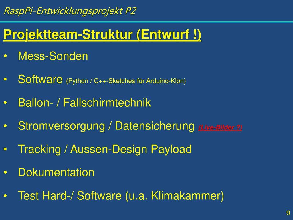 Projektteam-Struktur (Entwurf !)