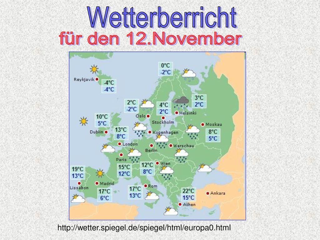 Wetterberricht für den 12.November