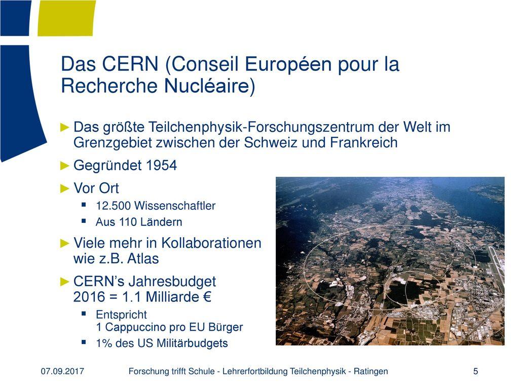 Das CERN (Conseil Européen pour la Recherche Nucléaire)