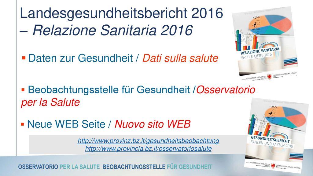 Landesgesundheitsbericht 2016 – Relazione Sanitaria 2016