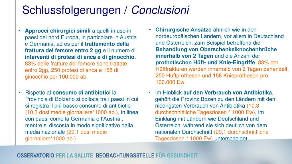 Schlussfolgerungen / Conclusioni