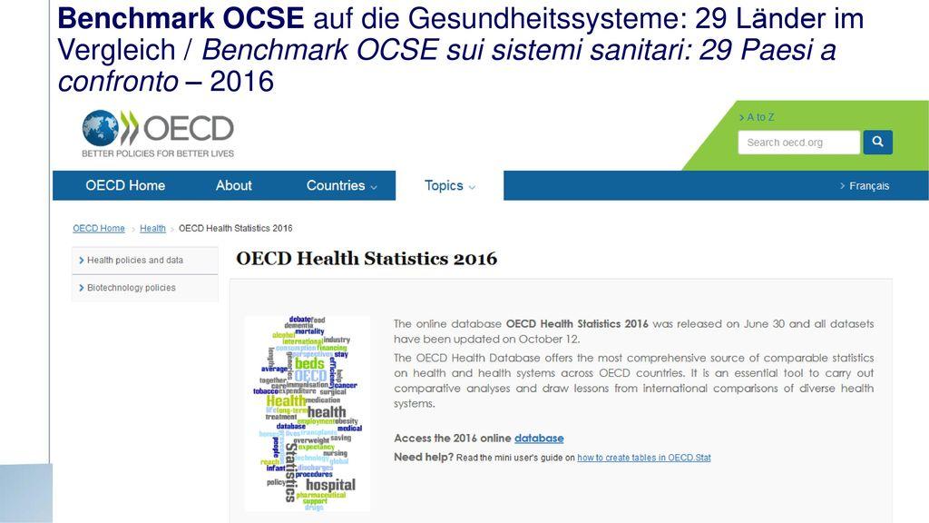 Benchmark OCSE auf die Gesundheitssysteme: 29 Länder im Vergleich / Benchmark OCSE sui sistemi sanitari: 29 Paesi a confronto – 2016