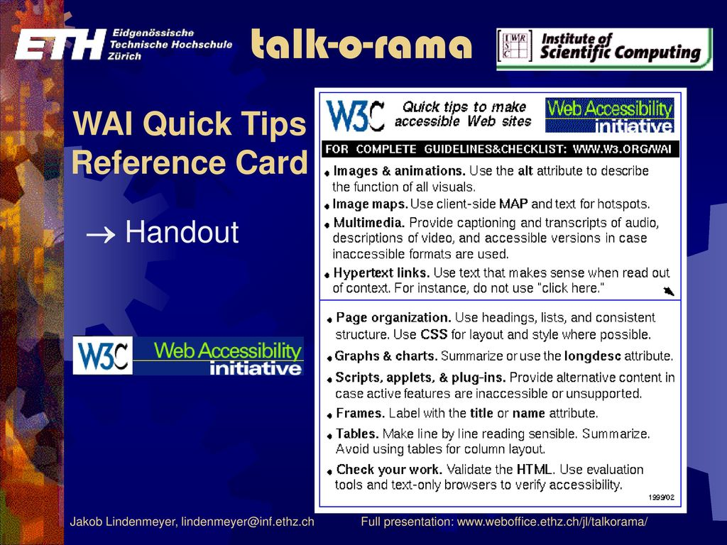 WAI Quick Tips Reference Card