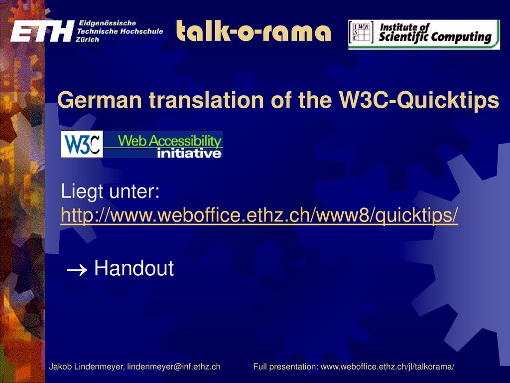 German translation of the W3C-Quicktips