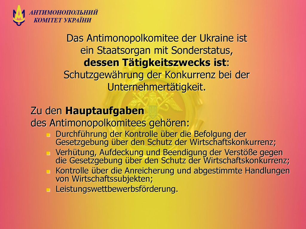 des Antimonopolkomitees gehören: