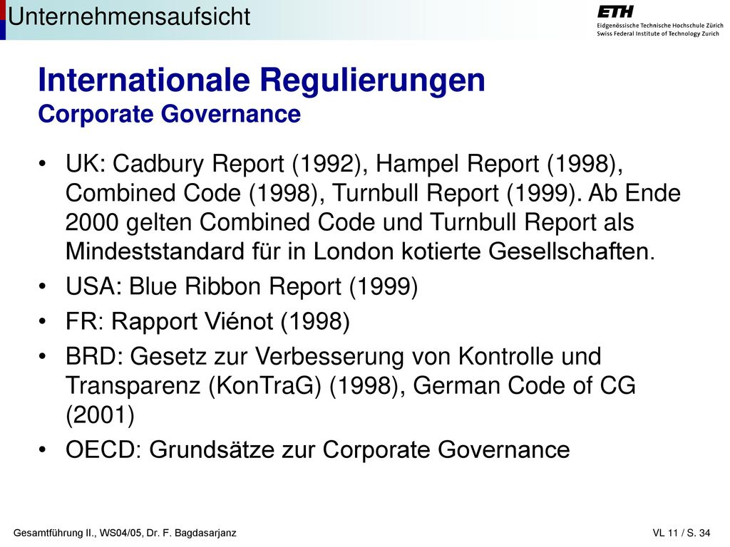 Internationale Regulierungen Corporate Governance