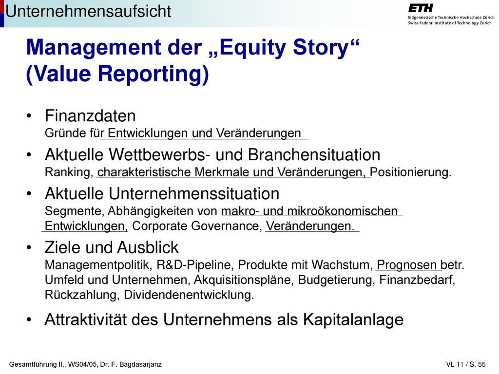 "Management der ""Equity Story (Value Reporting)"