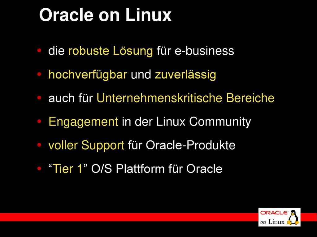 Oracle on Linux die robuste Lösung für e-business