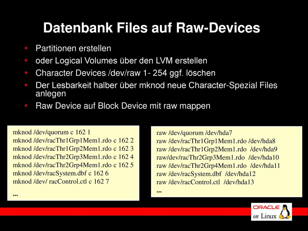 Datenbank Files auf Raw-Devices
