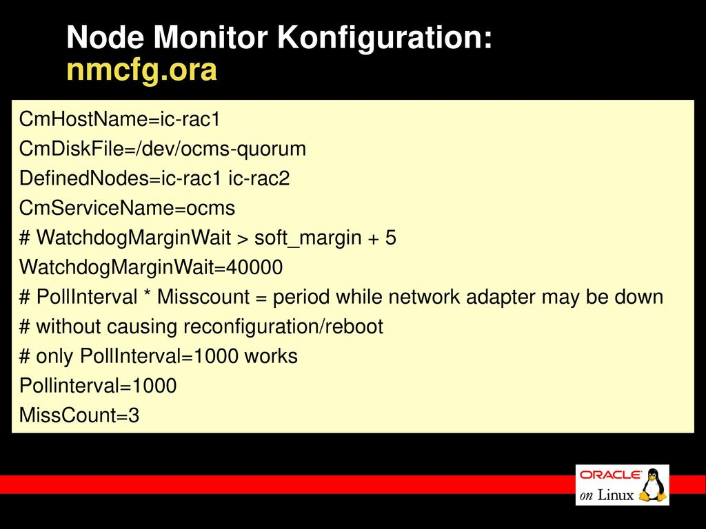 Node Monitor Konfiguration: nmcfg.ora