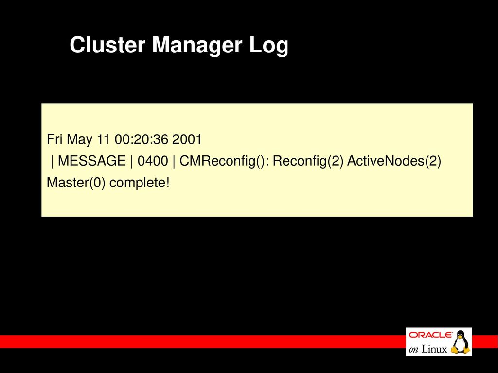 Cluster Manager Log Fri May 11 00:20: