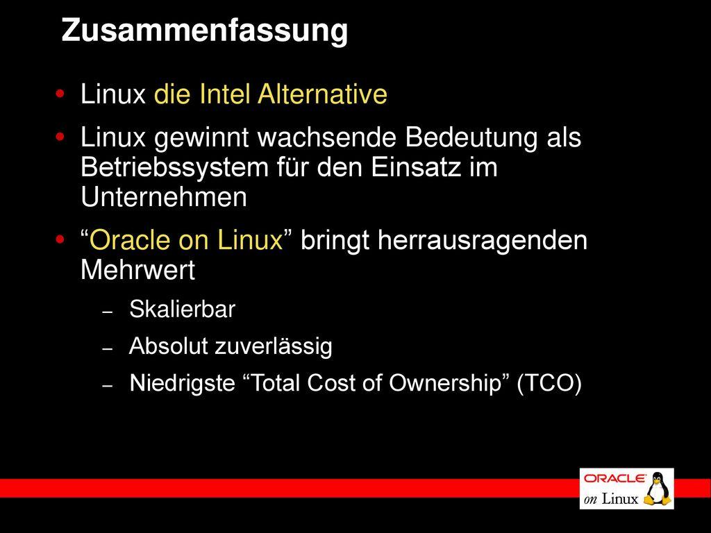 Zusammenfassung Linux die Intel Alternative