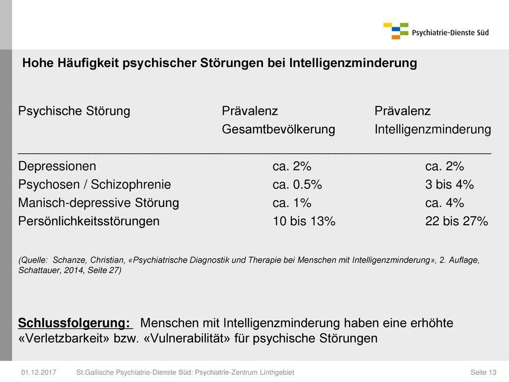 Hohe Häufigkeit psychischer Störungen bei Intelligenzminderung