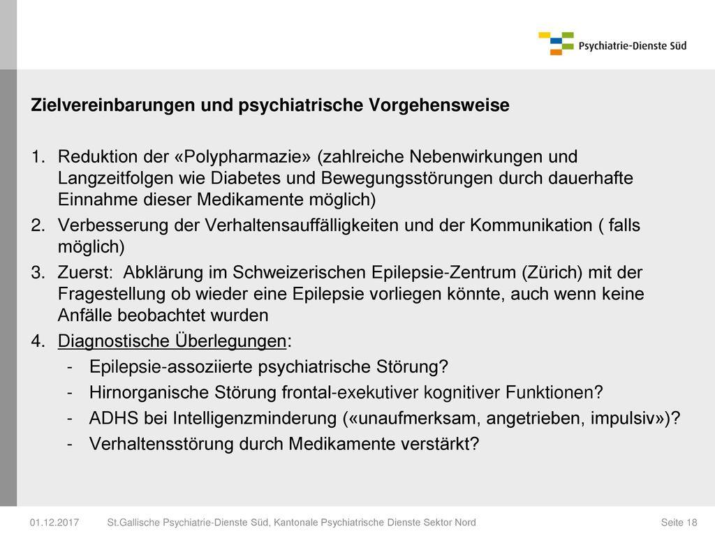 Zielvereinbarungen und psychiatrische Vorgehensweise