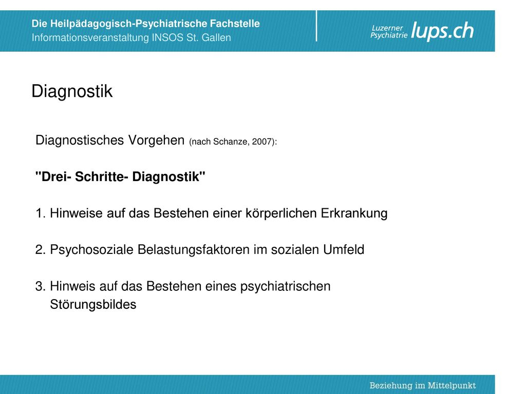 Diagnostik Diagnostisches Vorgehen (nach Schanze, 2007):
