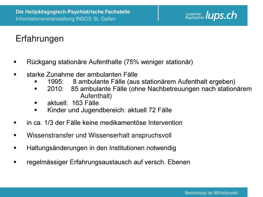 Erfahrungen Rückgang stationäre Aufenthalte (75% weniger stationär)