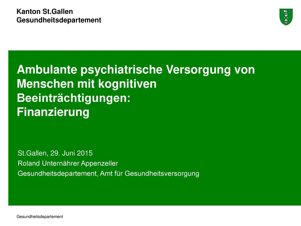 Ambulante psychiatrische Versorgung von Menschen mit kognitiven Beeinträchtigungen: Finanzierung