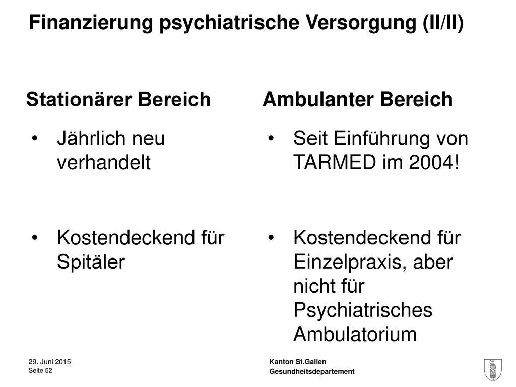 Finanzierung psychiatrische Versorgung (II/II)