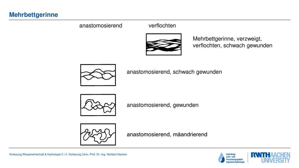 Mehrbettgerinne anastomosierend verflochten
