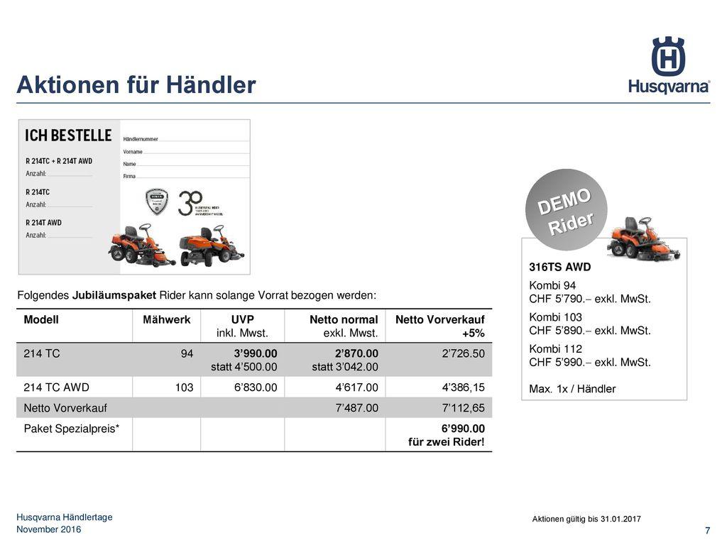 Aktionen für Händler DEMO Rider 316TS AWD