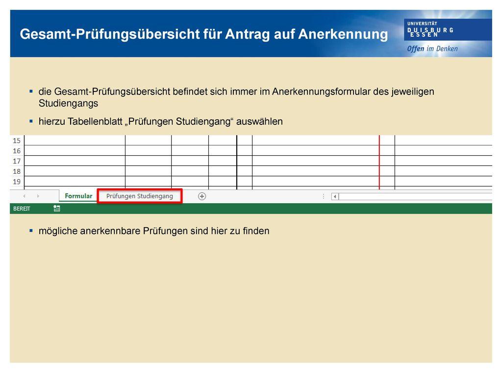 Gesamt-Prüfungsübersicht für Antrag auf Anerkennung