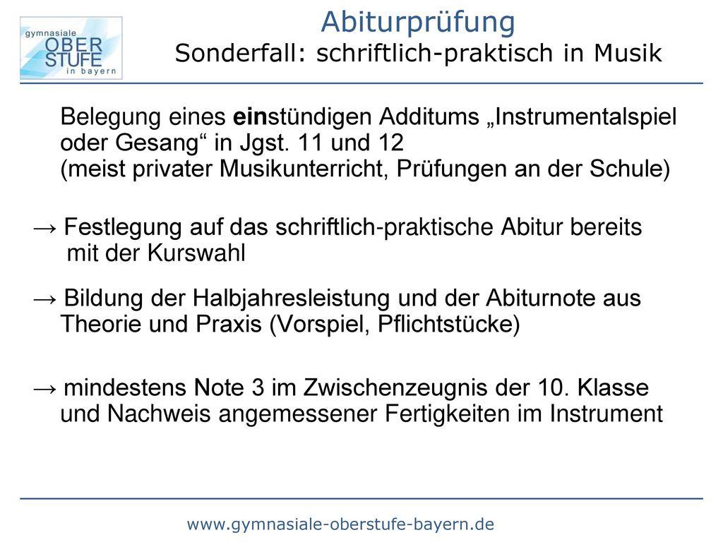 Abiturprüfung Sonderfall: schriftlich-praktisch in Musik