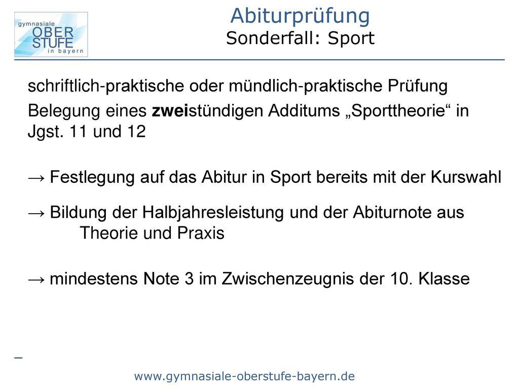 Abiturprüfung Sonderfall: Sport