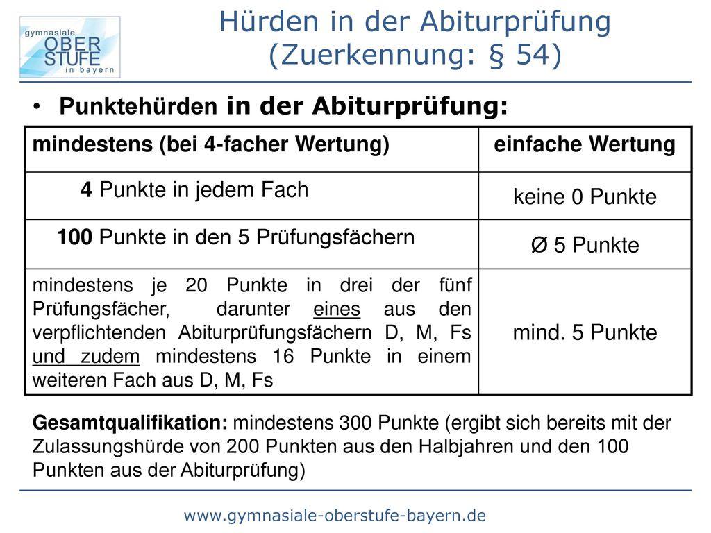 Hürden in der Abiturprüfung (Zuerkennung: § 54)