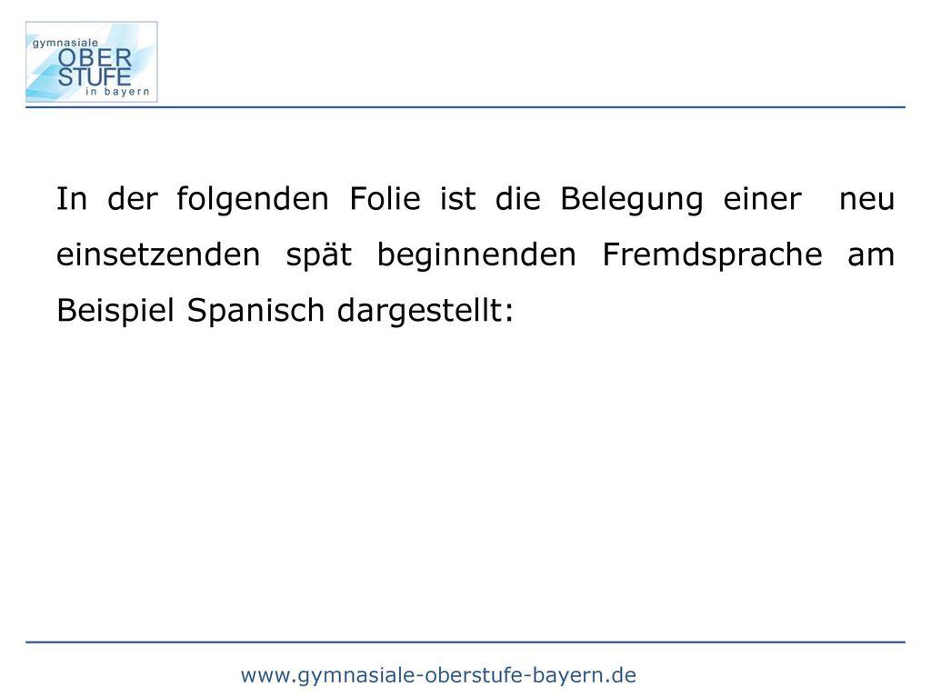 In der folgenden Folie ist die Belegung einer neu einsetzenden spät beginnenden Fremdsprache am Beispiel Spanisch dargestellt: