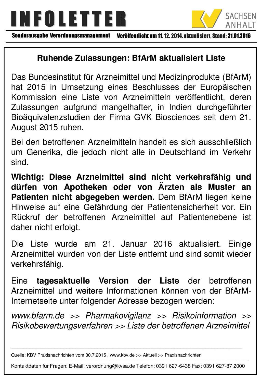 Ruhende Zulassungen: BfArM aktualisiert Liste