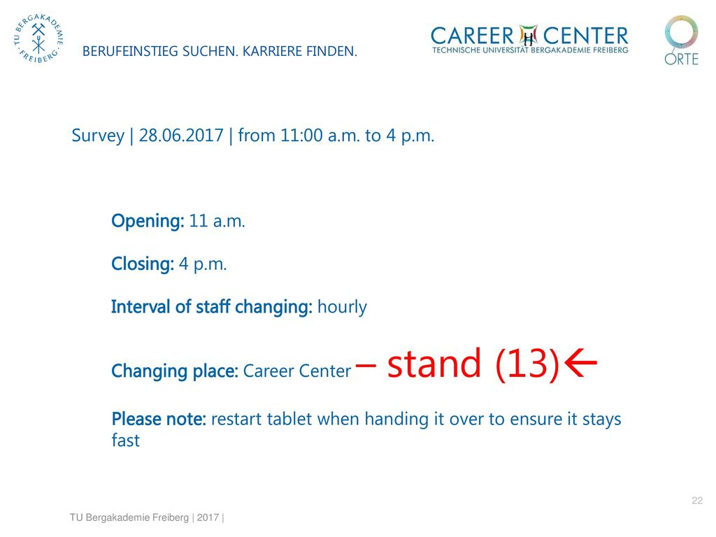 Interval of staff changing: hourly