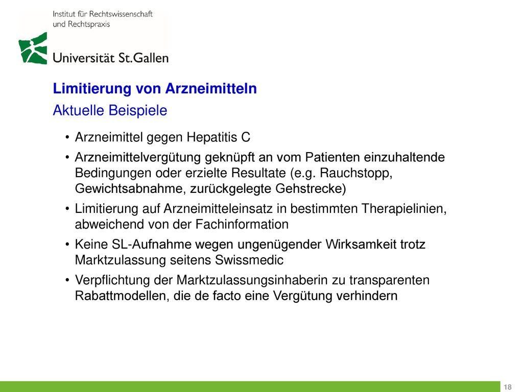 Limitierung von Arzneimitteln Aktuelle Beispiele