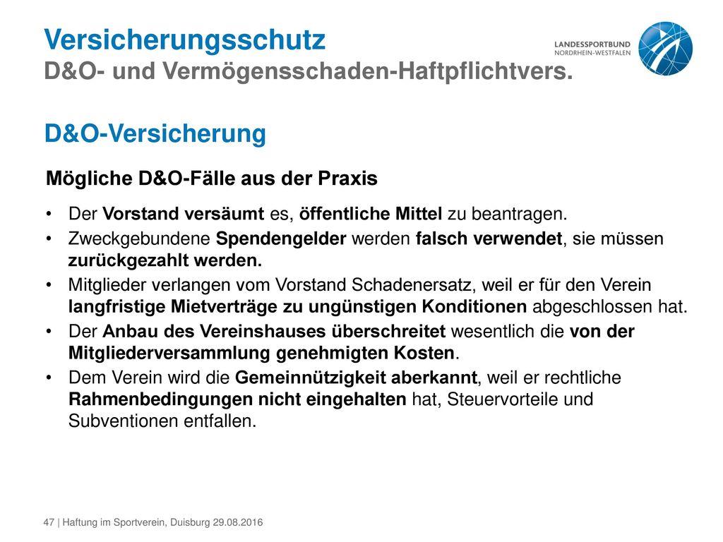 Versicherungsschutz D&O- und Vermögensschaden-Haftpflichtvers.