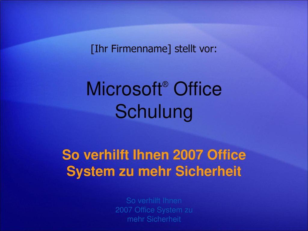 Microsoft® Office Schulung