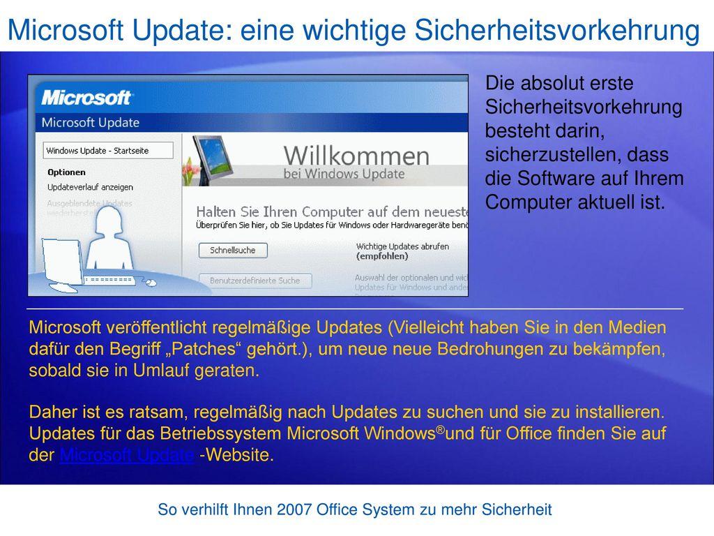 Microsoft Update: eine wichtige Sicherheitsvorkehrung