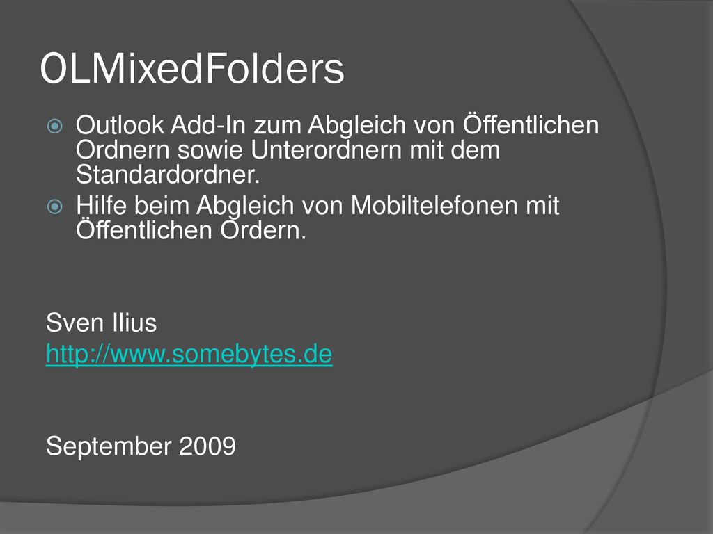 OLMixedFolders Outlook Add-In zum Abgleich von Öffentlichen Ordnern sowie Unterordnern mit dem Standardordner.