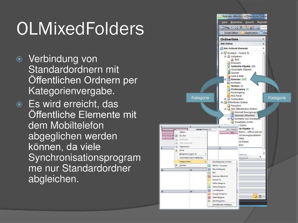 OLMixedFolders Verbindung von Standardordnern mit Öffentlichen Ordnern per Kategorienvergabe.