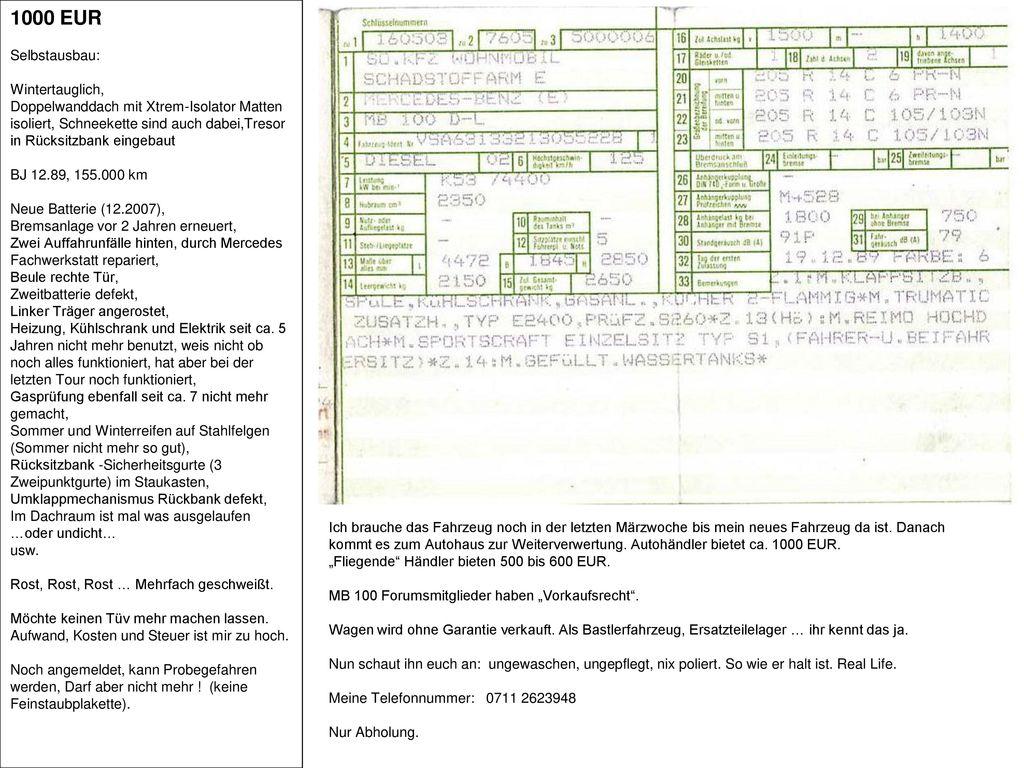 1000 EUR Selbstausbau: