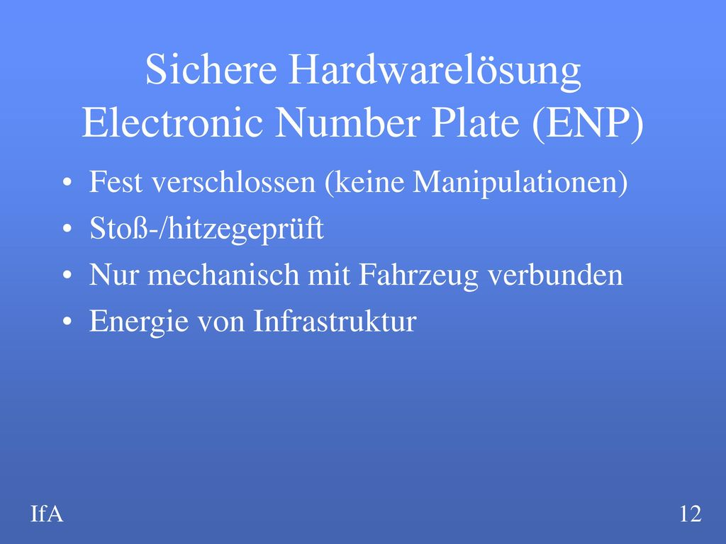 Sichere Hardwarelösung Electronic Number Plate (ENP)