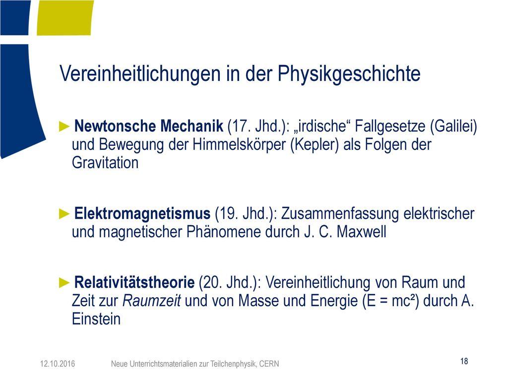 Vereinheitlichungen in der Physikgeschichte