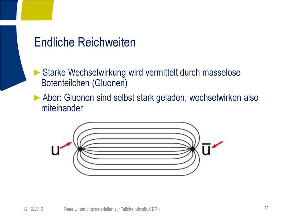Endliche Reichweiten Starke Wechselwirkung wird vermittelt durch masselose Botenteilchen (Gluonen)