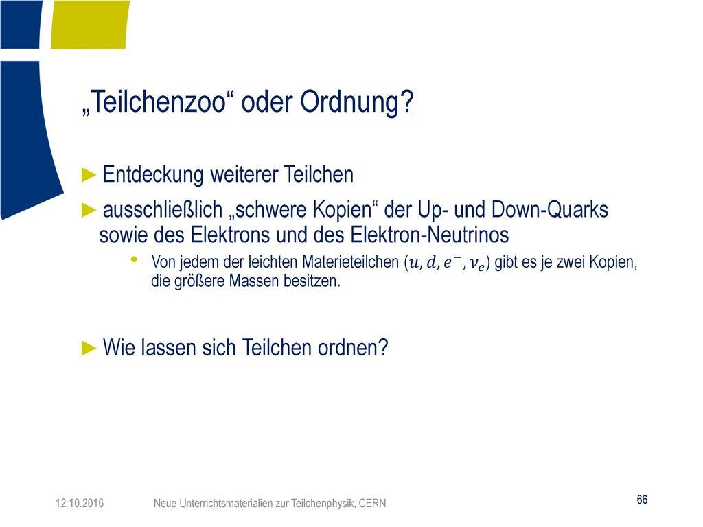 """""""Teilchenzoo oder Ordnung"""