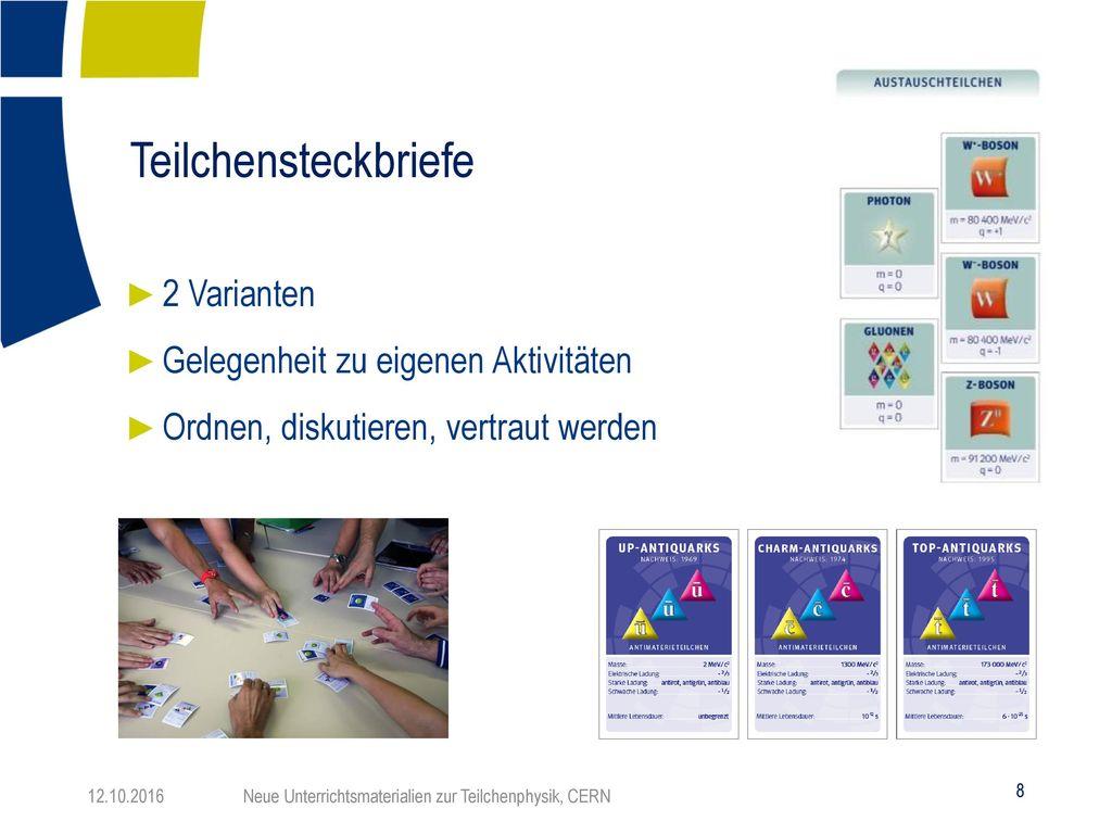 Teilchensteckbriefe 2 Varianten Gelegenheit zu eigenen Aktivitäten