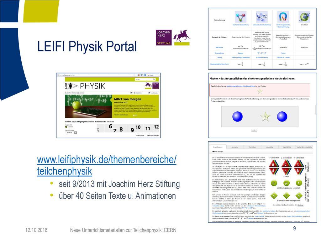 LEIFI Physik Portal www.leifiphysik.de/themenbereiche/ teilchenphysik