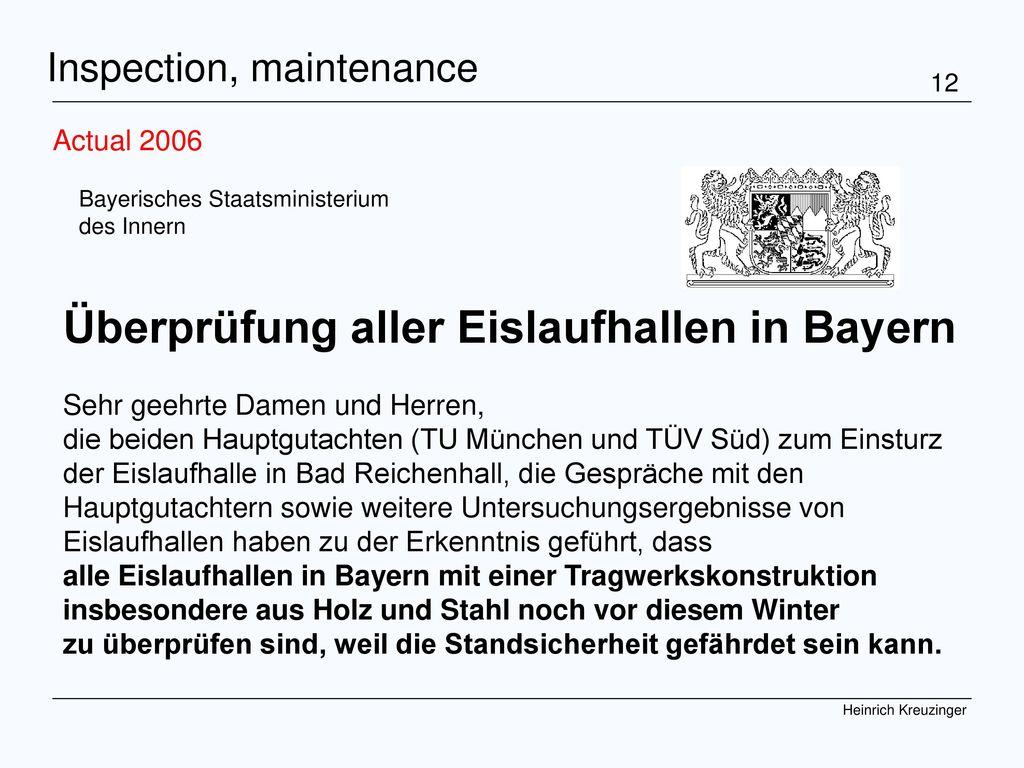 Überprüfung aller Eislaufhallen in Bayern