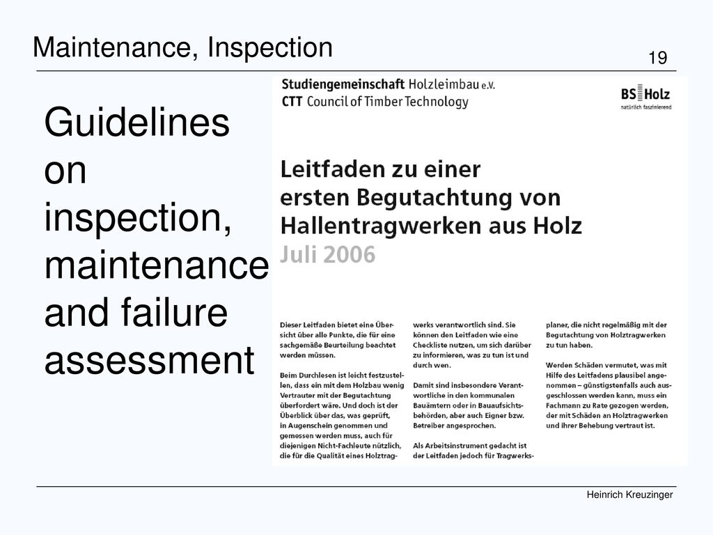 Guidelines on inspection, maintenance and failure assessment